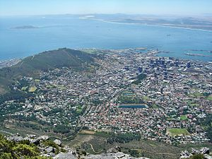 City Bowl - The Cape Town city bowl as seen from Table Mountain. Robben Island is visible in Table Bay, Signal Hill is on the left, and Molteno dam can be seen in the centre.