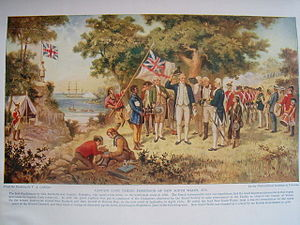 Possession Island (Queensland) - Captain Cook raises the Union Flag on Possession Island, 22 August 1770