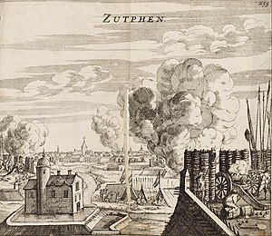 Capture of Zutphen by Maurice of Orange in 1591 - Verovering van Zutphen door Prins Maurits in 1591 (Johannes Janssonius, 1663).jpg