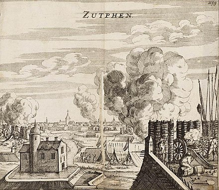 May 19-May 30: Capture of Zutphen Capture of Zutphen by Maurice of Orange in 1591 - Verovering van Zutphen door Prins Maurits in 1591 (Johannes Janssonius, 1663).jpg
