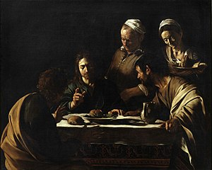 Supper at Emmaus (Caravaggio, London) - Supper at Emmaus (Milan), 1606. Brera, Milan.