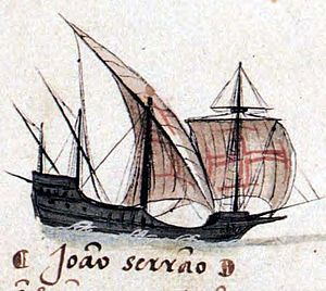 Square-rigged caravel - Square-rigged caravel or caravela de armada, of João Serrão (Livro das Armadas) in the 4th Portuguese India Armada (Gama, 1502)