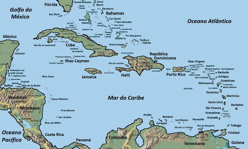 Caribbean Islands On World Map