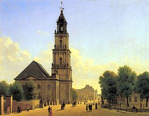 Garrison Church (Potsdam) - Garnisonkirche around 1827, oil painting by Carl Hasenpflug