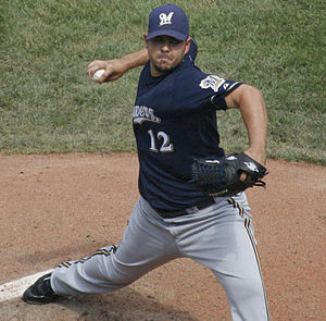 Carlos Villanueva (baseball) - Villanueva pitching for the Milwaukee Brewers in 2009