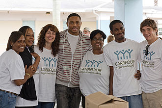 Nnamdi Asomugha - Asomugha at ground-breaking of Carrfour Supportive Housing's Verde Gardens community in Miami, Florida for formerly homeless families during Clinton Global Initiative Day of Service.