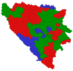 Peace plans proposed before and during the Bosnian War - The Carrington-Cutilero Peace Plan Green:Bosniak Cantons, Red:Serb Cantons, Blue:Croat Cantons