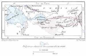 Sahara Sea - Map of Tunisia illustrating the area of Rourdaire's proposed Sahara Sea.