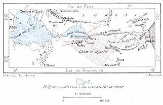 Sahara Sea - Map of Tunisia illustrating the area of Rourdaire's proposed Sahara Sea.
