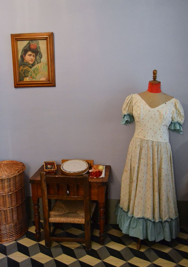 Sewing room at Concha Piquer's Museum in Valencia. On the left, her portrait
