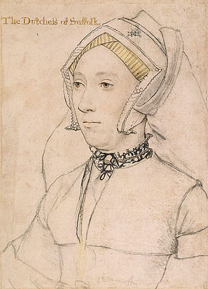 Catherine Brandon, Duchess of Suffolk - Catherine Willoughby, drawing by Hans Holbein the Younger