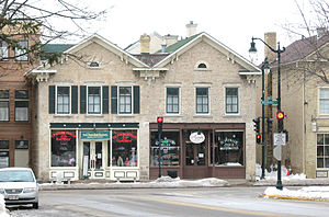 Cedarburg, Wisconsin - Street scene, with buildings dating to the late 1800s.