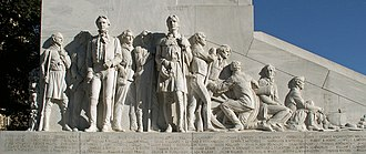 Battle of the Alamo - Closeup of the Alamo defenders at the Cenotaph memorial