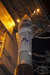 Centaur upperstage and the payload fairing with LDCM in it seen at genty rollback.jpg