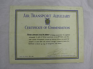 Air Transport Auxiliary - Commendation for ATA pilot Helen Ruth Kelly