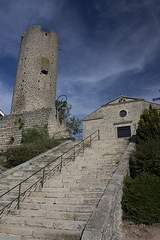 Chambles - The tower and staircase in Chambles