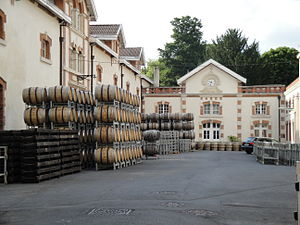 Champagne Krug - Barrels stored in Krug's courtyard waiting to be used.
