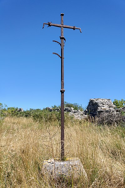 Wrought iron cross from the 15th century near the village of Champerboux in the commune of Sainte-Enimie, Lozère, France