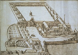 Champmol - Champmol in 1686. The cottage-like hermitages of the monks can be seen surrounding the main cloister, with the Well of Moses in the middle.