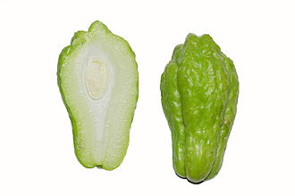 Chayote - Chayote fruit cut lengthwise