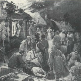 """Peasants (short story) - The peasants stood round in a crowd, doing nothing but staring at the fire. No one knew what to do, no one had the sense to do anything, though there were stacks of wheat, hay, barns, and piles of faggots standing all round. Kiryak and old Osip, his father, both tipsy, were standing there, too. And as though to justify his doing nothing, old Osip said, addressing the woman who lay on the ground: """"What is there to trouble about, old girl! The hut is insured—why are you taking on?"""" 1903 Illustration by Alexander Apsit"""