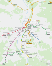 Map of tram and Stadtbahn net
