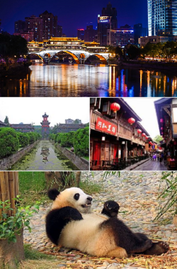 Clockwise from top: Anshun Bridge، Jinli، Chengdu Panda Base, and Sichuan University.