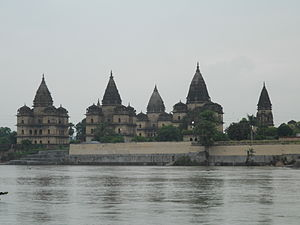 Betwa River - Chhatris on the bank of Betwa river