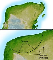 The Chicxulub Crater at the tip of the Yucatán Peninsula; the impactor that formed this crater may have caused the dinosaur extinction.