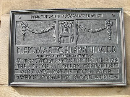 Thomas Chippendale was born in a cottage which formerly stood here Chippendale Born Here Otley 7 August 2017.jpg