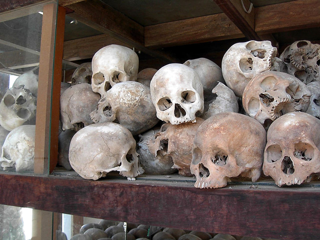Skulls of Khmer Rouge victims, Cambodia