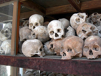 Islam in Cambodia - Skulls of Khmer Rouge victims.