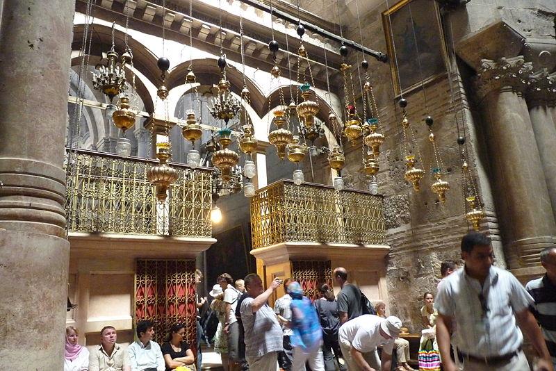 Der Kaiserbogen in der Grabeskirche - der Eingang zum Katholikon - Sehenwürdigkeit in Israel - vergrößerbar