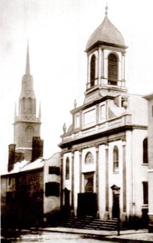 Jean-Louis Lefebvre de Cheverus - Church of the Holy Cross, Franklin Street, Boston (1850s photo)