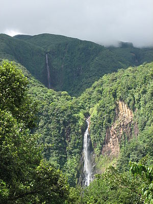 Economy of Guadeloupe - Carbet Falls, one of the most popular visitor sites in Guadeloupe, with approximately 400,000 visitors annually.