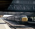 """Cl. 45 """"Peak"""" no. 45143 arrives at Leicester station with a southbound parcels train, Nigel Tout, July 1985.jpg"""