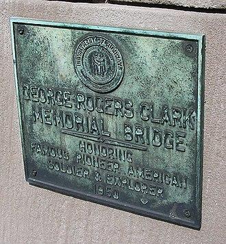 George Rogers Clark Memorial Bridge - Dedication plaque on the bridge
