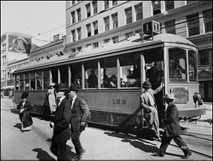 Panama–California Exposition - One of the San Diego Electric Railway streetcars at 5th and Broadway in San Diego, CA (1915)
