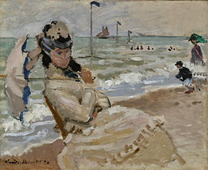 Camille Doncieux - Camille on the Beach in Trouville, 1870, painted during their honeymoon