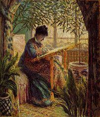 Madame Monet Embroidering (Camille au métier)