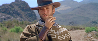 "Clint Eastwood as the Man with No Name in A Fistful of Dollars, the first film of Sergio Leone's ""Dollar Trilogy"""