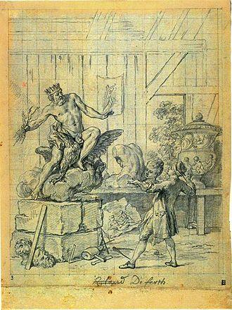 Charles-Nicolas Cochin - Le statuaire et la statue de Jupiter, sketch by Cochin for an illustration in Jean de la Fontaine's Fables choisies