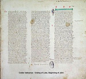 John 1 - The end of Gospel of Luke and the beginning of Gospel of John on the same page in Codex Vaticanus