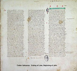 Codex Vaticanus - Ending of Luke and Beginning of John on the same page