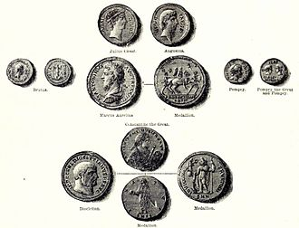 Roman currency - Coins of the Roman Republic and Empire - from Cassell's History of England, Vol. I - anonymous author and artists