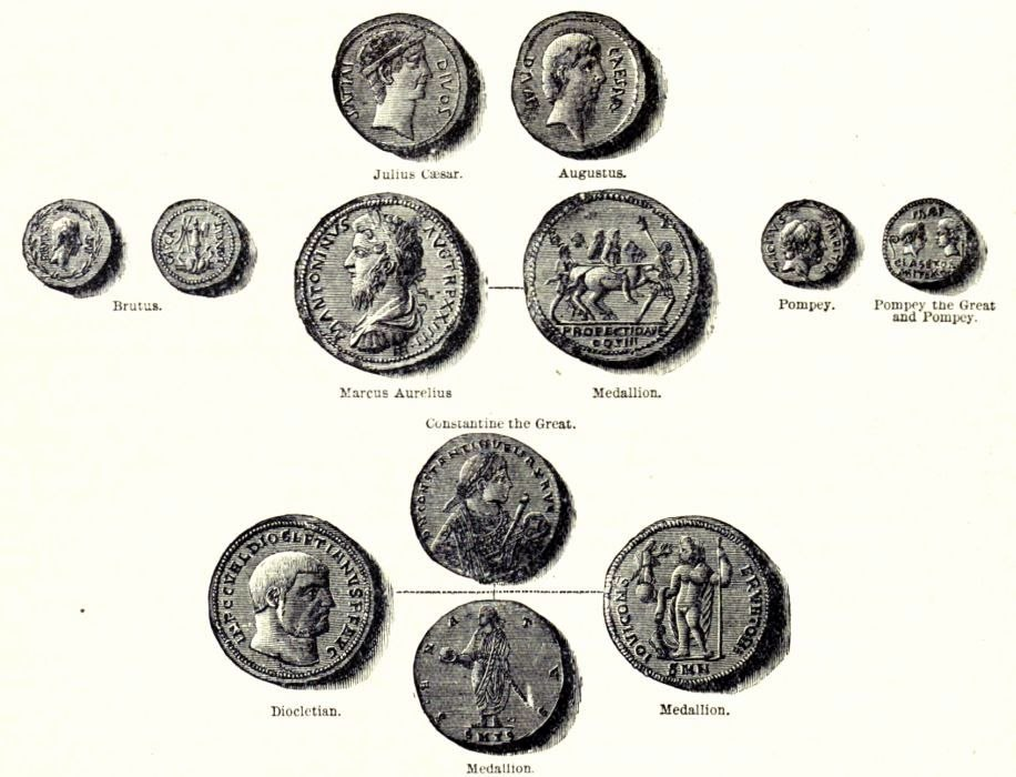 Coins of the Roman Replic and Empire - from Cassell's History of England, Vol. I - anonymous author and artists