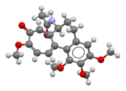 Ball-and-stick model of the colchicine molecule