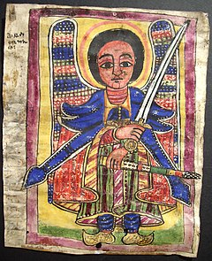 Ethiopian icon of an angel, possibly St Michael. Coleccion Miguel Galles Icono etiope soporte pergamino XX (25x20) (2).JPG