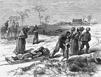Colfax massacre - Gathering the dead after the Colfax massacre, published in Harper's Weekly, May 10, 1873