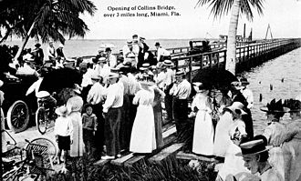 Collins Avenue - Opening of the Collins Bridge in 1913 connecting Miami Beach and the mainland